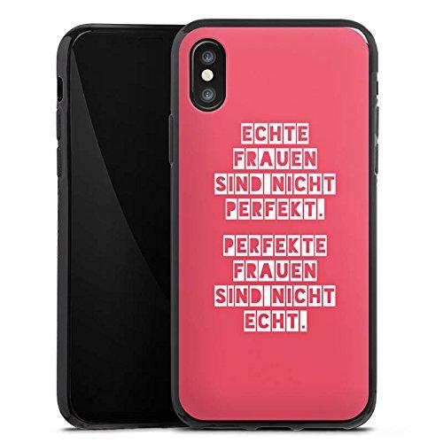 Apple iPhone X Silikon Hülle Case Schutzhülle Frauen Sprüche Frau Silikon Case schwarz