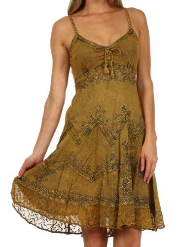 Sakkas 4031 Stonewashed Rayon verstellbares Mid Length Kleid - Old Gold - 1X / 2X - Stufenrock Kleid