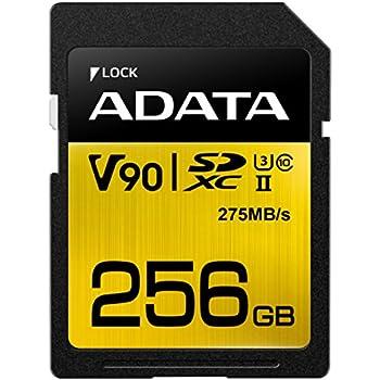 ADATA Premier One V90 Memoria Flash 256 GB SDXC Clase 10 UHS-II - Tarjeta de Memoria (256 GB, SDXC, Clase 10, UHS-II, 275 MB/s, Negro, Oro)