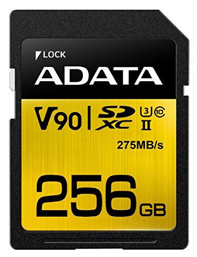 ADATA Premier ONE V90 256GB SDXC UHS-II Clase 10 memoria flash - Tarjeta de memoria (256 GB, SDXC, Clase 10, UHS-II, 275 MB/s, Negro, Oro)