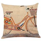Nunubee Kissenbezug Kreatives Fahrrad-Serie Leinenmaterial Skandinavische Wohnzimmer deko Kissen Autodekoration Sofa Cover, Fahrrad 7 45x45cm