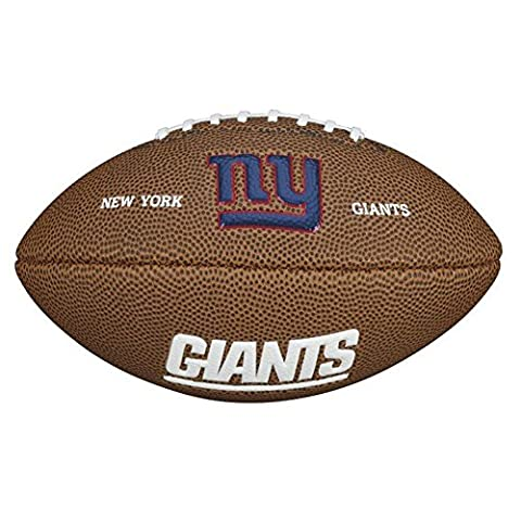 Wilson American Football, NFL Certified, Recreational Use, Mini Size, NFL TEAM LOGO NEW YORK GIANTS, Brown, WTF1533XBNG