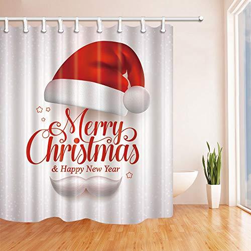 Nyngei Frohe Weihnachten Duschvorhänge für Bath Red Christmas Hut und Santa White Bart für Neujahr Polyester Stoff Wasserdicht Bad Hooks180X180CM