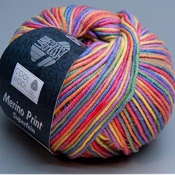 Lana Grossa Pelote à tricoter en laine mérinos très fine Cool Wool 703 Arc-en-ciel clair 50 g