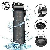 CAMTOA Trinkflasche, Wasserflasche aus Tritan 1000ml Auslaufsicher, Water Bottle Eco Friendly & BPA-freiem Kunststoff Fahrradflasche, Sporttrinkflasche Ideal Sportflasche für Laufen, Fitness, Camping