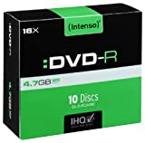 Intenso DVD-R Rohlinge 4,7 GB 16x kratzfest Cover-Card 10er Pack Slim Case