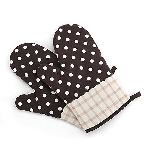 LanLan 1 Pair Heat Gloves Resistant Cotton Pot Holder Decorative Oven Mitts Baking Gloves Coffee