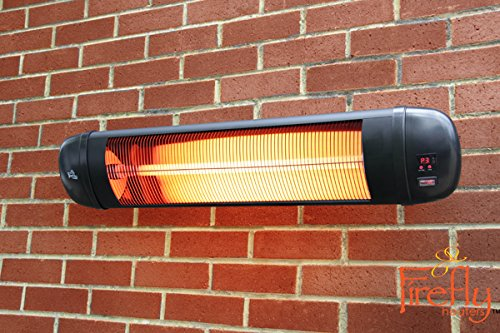 Firefly 2kW Adjustable Infrared Garden Outdoor Indoor Wall Mounted Patio Heater with Remote Control