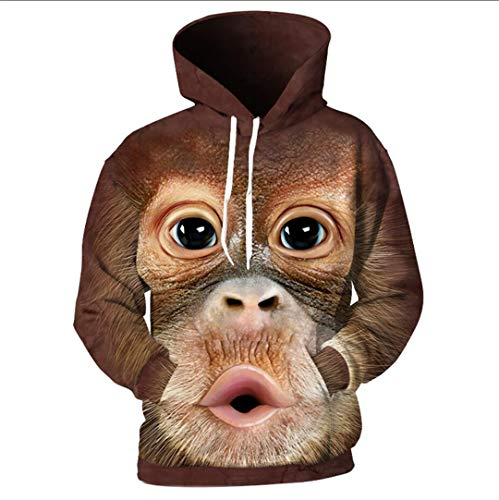 Affe Kostüm Gemütliche - Linnhorr 3D Männer Hoodies Drucken Orang-Utan AFFE Sweatshirts Harajuku Lose Hoodie Pullover Tops XL