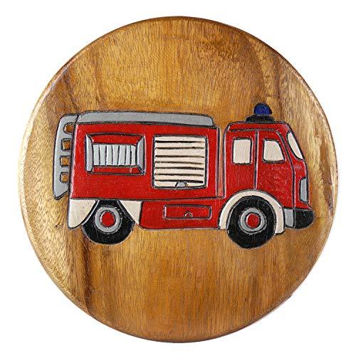 ART-CRAFT KH164 Kinderhocker Holz Schemel mit Feuerwehr Auto und beschnitzt Höhe 27 cm