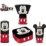 Mickey Mouse Character - Pack de botella con sipper, vaso con pajita, fiambrera y set de desayuno