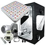 Cultivalley Growbox Komplett-Set 120x120x200cm, 512W GC-16 Profi Vollspektrum Grow-LED, 400m³ Profi Thermo Controlled Klimaset mit AKF