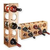 Torrex 30543 Weinregal stapelbar aus Bambus-Holz für 5 Wein-Flaschen zum Stellen, Legen oder zur Wand-Montage, erweiterbar, Größe 13,5x12x53 cm (LxBxH)...