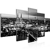 Runa Art Bilder Köln Wandbild 200 x 100 cm Vlies - Leinwand Bild XXL Format Wandbilder Wohnzimmer Wohnung Deko Kunstdrucke Grau 5 Teilig - Made in Germany - Fertig Zum Aufhängen 601551b