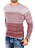 Reslad Herren Pullover Strick roter Männer Jungen Pullis Pulli Langarm Sweatshirt Männeroberteile Winter RS-3106 Bordeaux L