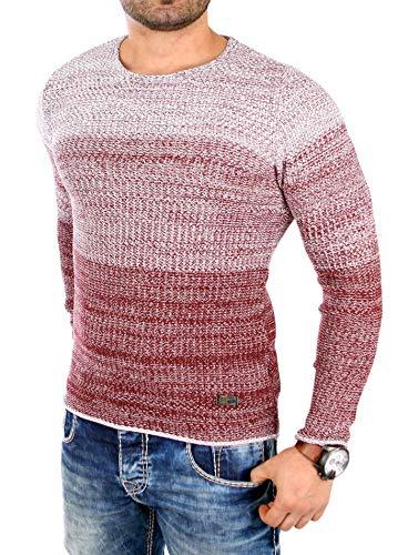 Reslad Herren Pullover Strick roter Männer Jungen Pullis Pulli Langarm Sweatshirt Männeroberteile Winter RS-3106 Bordeaux L Winter Herren Sweatshirt