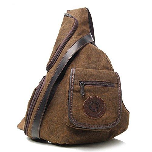 Outreo Brusttasche Vintage Sporttasche Outdoor Tasche Retro Umhängetasche Sport Schultertasche Herren Canvas Taschen für Reisen Reisetasche Kuriertasche Kleine