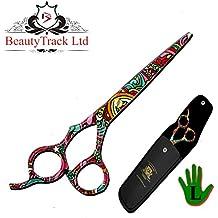 """BeautyTrack 7 """"zurdos tijeras de peluquería tijeras de salón de peluquería + funda de tijeras, edición limitada. Hermoso diseño ideal para regalo"""