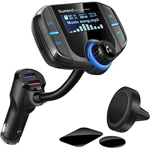 Enhanced Network Modul (Auto Adapter FM Transmitter im Auto, Kabellos Radio Adapter 1,7 Zoll Display, QC3.0/2.4A Dual-USB-Ports, AUX-Eingang/Ausgang, MP3 Player mit Magnet Halterung und Platte, Unterstützung für Bluetooth)