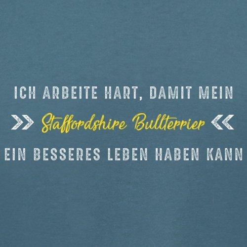 Ich arbeite hart, damit mein Staffordshire Bullterrier ein besseres Leben haben kann - Damen T-Shirt - 14 Farben Indigoblau