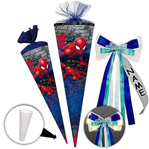 alles-meine.de GmbH Schultüte - Spider-Man - 70 cm - rund - incl. individueller _ großer LED LICHT - Schleife - mit Namen - Filzabschluß - Zuckertüte - mit / ohne Kunststoff Spit.. -