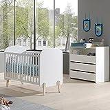 Lomadox Babyzimmer Set im Retro-Design, MDF weiß lackiert mit massiver Kiefer, 60x120cm Babybett & Wickelkommode
