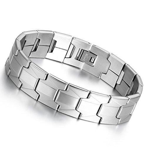 cupimatch Fashion 16 mm breit silber Ton Edelstahl High poliert Link Kette Armband für Männer Frauen 20,7 cm