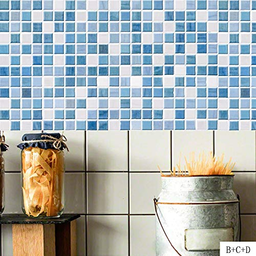 JY ART Fliesenaufkleber Fliesensticker Fliesenfolie Design | Fliesen Aufkleber Sticker Folie Selbstklebend für Küche u. Bad Deko Retro Klebefliesen Mediterraner Stil Blau Mosaik, 20 * 100cm*4pcs