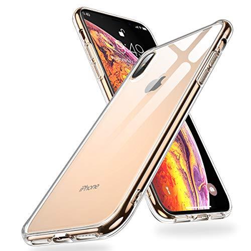 Humixx iPhone XS Max Hülle,Hochwertigem 9H Gehärtetem Anti-Gelb Glas Rückseite mit Soft TPU Weich Rahmen Schutzhülle,Ultra Dünn Transparent Crystal Clear Handyhülle für iPhone XS Max - Klar -