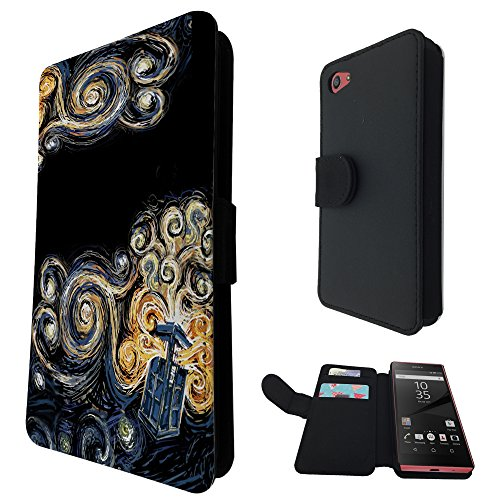 452 - doctor who tardis van gogh canvas Design Sony Xperia Z5 Compact / Mini Fashion Trend TPU Leder Brieftasche Hülle Flip Cover Book Wallet Credit Card Kartenhalter Case