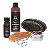 Olio da Barba kit 6pz Breett Olio Cura barba Oil 30 ml,crema di barba 30g,100ml barba wash,pettine di barba e spazzola di barba,Forbici Barba,Forbice peli Naso,facile da curare della barba,Regalo idea