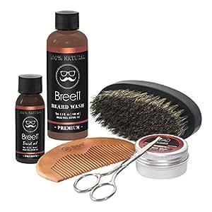 Kit de Soins de Barbe, Breett huile à barbe kit 6 pcs,Huile à barbe naturel, d'une Pommade à barbe, Lavage de la barbe, Un ciseaux à barbe acier inoxydable, Un peigne à barbe, Une brosse à barbe en Soie de Porc, Cadeau Idéal pour homme