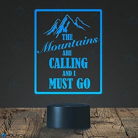 The Mountains are calling and I must go, Les montagnes m'appellent et je dois y aller Lampe gadget décor, meilleur cadeau pour Noël, veilleuse décorative, mode de 7 couleurs, superbes cadeaux