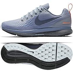 Nike W Air Zoom Pegasus 34 Shield, Zapatillas de Deporte para Mujer, (Wolf Grey/Thunder Dark Sky Blue 002), 38 EU