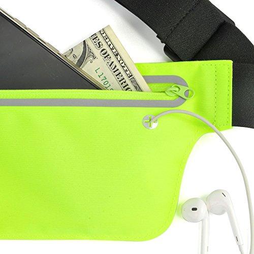 Faleto Sport Hüfttasche flache Bauchtasche Gürteltasche mit Kopfhöreranlass passt alle Handys unter 6 Zoll für Damen und Herren auf Sport und Outdoor Aktivitäten anwenden Fluoreszierende grün#02