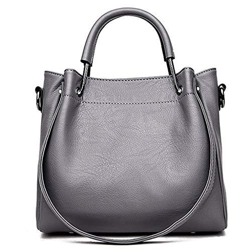 Damen Umhängetasche koreanische Mode retro Eimer Tasche Trend weiblichen Beutel weiches Gesicht große Kapazität Damen Handtasche (Color : Gray, Size : 25 * 14 * 22CM)