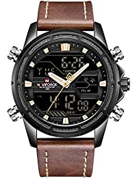 Naviforce - Reloj de Pulsera Digital analógico de Piel auténtica para Hombre con Doble Zona horaria, Alarma,…