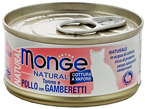 Monge Cat Natural Tonno e Pollo con Gamberetti 80 gr 1 Lattina