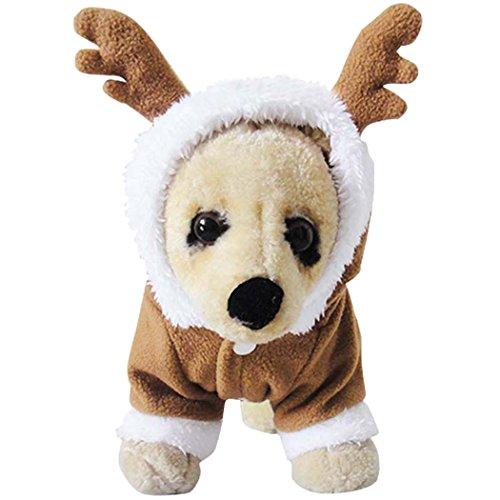 Kleider für Hunde, Legendog Hundekostüm Rentier Samt Weihnachten Wintermantel Niedlich Elch Antler Kostüm Hunde Jacke Hoodie Kleider für Hunde Welpen (Halloween Elch Kostüme)