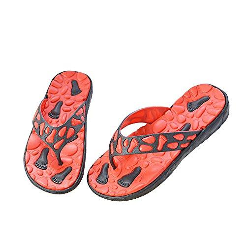 Vertvie Herren Schuhe Sommer Strand Sandalen Indoor Outdoor Slipper Zehentrenner Pantoletten Flip Flop Rot