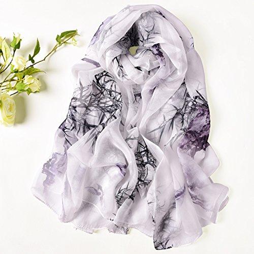 LLZWJ Schal/Sonnenschutz/Dekoration/Geschenk/Erhöhen Maulbeerseide Drucken Hand Gerollt Weiblichen Langen Schal Seide Schal C - Hand Gerollt Seide Schal