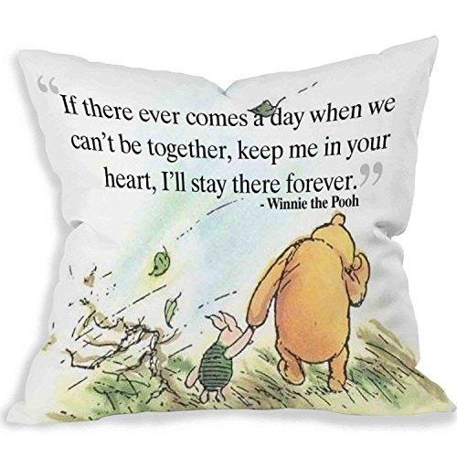 """Deko-Kissen / Kissenbezug mit süßem  """"Winnie the Pooh""""-Motiv und -Spruch (20x 20cm beide Seiten) - Sprüche Kissenbezüge"""