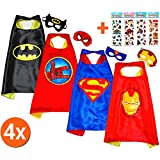 Batman + Superman + Iron Man + Spiderhand (Set 4 Stück) + 4 Aufkleber! Umhänge und Maske - Superhelden-Kostüme Kinder Cape and Mask - Superheroes Spielzeug Verkleiden & Kostüme für Jungen und Mädchen Fasching oder Motto-Partys - King Mungo - KMSC040