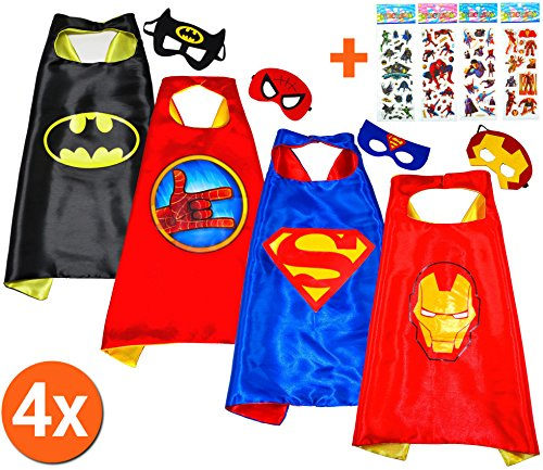 Batman + superman + iron man + spider hand (set 4pezzi) + di 4. kim e maschera–super eroi di costumi bambini cape and mask–super heroes giocattolo travestimenti e costumi per ragazzi e ragazze carnevale o feste a tema–king mungo–kmsc040