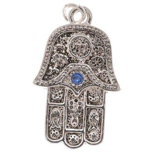 Delight Beads Charm-Anhänger Hamsa handversilbert Saphir Swarovski Elements Kristall