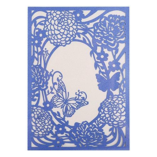 WOLFTEETH 10pcs Cartes d'Invitation Enveloppe Faire-Part pour décoration de Mariage fiançailles fête soirée (Violet)