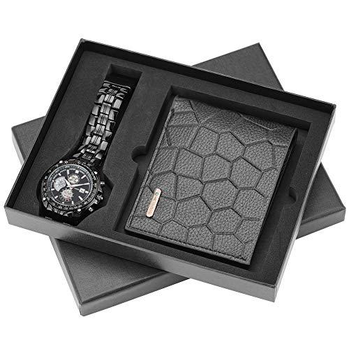 Bezauberndes Uhrenset für Männer, attraktive Quarz-Uhren für Männer, Leder Geldbörse für Freunde und Ehemann