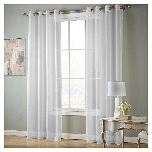QIXING Rideaux Voilage En Voile Uni De Transparent Rideau de La Fenêtre Décorative Pour Chambre Salon Design Moderne1Pc/Paquet (Blanc, 140x220 cm)