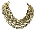 Prisa Times Oro 14K PT 12mm 21,6cm-76,2cm Iced out soffiato Mariner Gucci Link Catena Choker e Lega, Colore: Gold