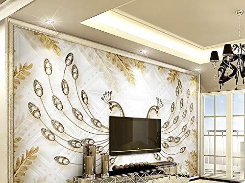 Gewohnheit Irgendeine Größe Europäische Luxus 3D Gold Blatt Pfau Schmuck Tv Hintergrund Wand Wandaufkleber Ausgangsdekor Tapete Wandbild (Laden Tower Station)